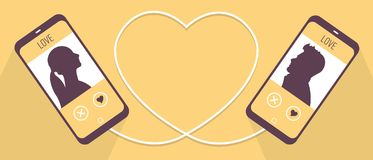 Two phones symbolically connected with a cable in heart shape, man and woman get to know each other in dating vector illustration