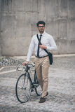Getting to work by bike. Royalty Free Stock Photos