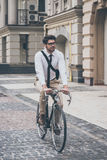 Getting to work by bike. Stock Photo