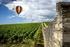Burgundy. Hot air balloon over the vineyards of the burgundy. France royalty free stock photo