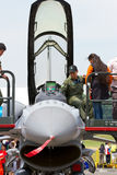 Getting up close with F-16 static display. During the two days of open house by the Republic of Singapore Air Force, the public get the chance to see, touch, and Royalty Free Stock Photography