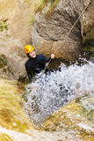 Getting wet while canyoning Stock Images