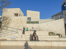 Getty Center in LA. LOS ANGELES, USA - JANUARY 31, 2013: Tourists visiting the Getty Center museum in Los Angeles California USA designed by architect Richard Royalty Free Stock Photography