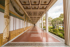 Getty Villa in Pacific Palisades. Perspective shot of long corridor in the Getty Villa Stock Photography