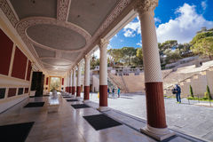 Getty Villa in Pacific Palisades. Wide shot of the beautiful entrance at the Getty Villa Royalty Free Stock Images