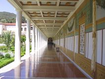 Getty Villa. Pathway on the side of Getty Villa backyard Royalty Free Stock Image