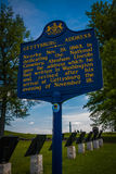 Gettysburg Address Historical Marker Sign. Gettysburg, PA - May 16, 2010: The Blue Gettysburg Address Historical Marker sign near the spot where President royalty free stock photography