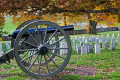 Gettysburg in Autumn. A cannon in a cemetery at Gettysburg National Military Park in Pennsylvania,USA Stock Image