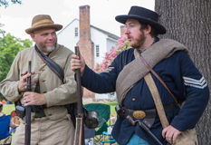 Gettysburg Battle Reenactment. HUNTERSVILLE, NC - July 1, 2017:  Military reenactors in Union and Confederate uniforms recreate the American Civil War Battle of Stock Image