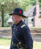 Gettysburg Battle Reenactment. HUNTERSVILLE, NC - July 1, 2017:  Military reenactors in Union uniforms recreate the American Civil War Battle of Gettysburg at Stock Photo