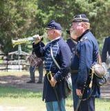 Gettysburg Battle Reenactment. HUNTERSVILLE, NC - July 1, 2017:  Military reenactors in Union uniforms recreate the American Civil War Battle of Gettysburg at Royalty Free Stock Photo