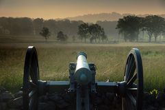 Gettysburg Battlefield Cannon. Cannon on the Gettysburg National Battlefield, Little Round Top in the background Royalty Free Stock Photo