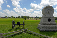 Gettysburg. Battlefield with canon and monument Stock Photo