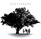 Gettysburg Battlefield. Spectacular ancient tree atop Devil's Den on the Gettysburg Battlefield Stock Photos