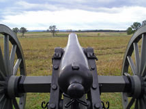 Gettysburg Cannon. View over the barrel of a Civil War cannon across the Battlefield at Gettysburg Stock Photos