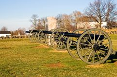Gettysburg Cannon - 3. Civil War cannon lined up on the famous Seminary Ridge on Gettysburg National Battlefield, Gettysburg, Pennsylvania on a sunny, late fall Royalty Free Stock Images