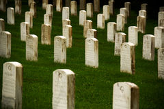 Gettysburg Cemetery Headstones. Headstones of soldiers from American military at the site of the American Civil War at Gettysburg, Pennsylvania, United States stock photography