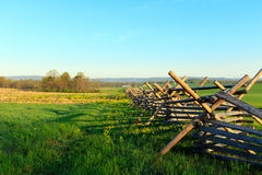 Gettysburg. Color DSLR stock image of a wooden fence in a field at Gettysburg, Pennsylvania battle memorial.  Horizontal with copy space for text Stock Images