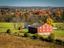 Gettysburg Farm with Red Barn in Autumn Stock Image