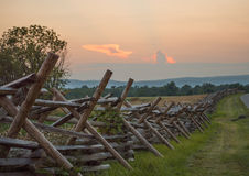 Gettysburg Fence. Split-rail fence line at sunset in Gettysburg National Park Stock Images