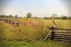 Gettysburg Field Fence and Barn Stock Photos