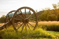 Gettysburg kanon i morgonljus Arkivbild