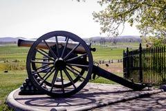 Gettysburg kanon och Cannonballs Royaltyfri Bild