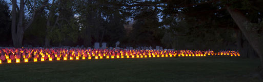 Gettysburg Luminary. Gettysburg, PA, USA - November 15, 2014 : 12th Annual Luminary Ceremony at Soldiers Cemetery Royalty Free Stock Image