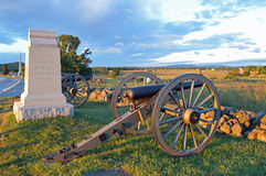 Gettysburg National Battlefield Cannon and Monument Stock Image