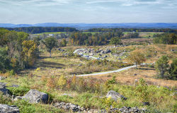 Gettysburg National Military Park, Pennsylvania. From Little Round Top looking down at Devil's Den and the Slaughter Pen. Gettysburg Battlefield Royalty Free Stock Photography