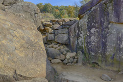 Gettysburg National Military Park, Pennsylvania. Sharpshooter position at Devil's Den looking toward Little Round Top. Gettysburg Battlefield Stock Image