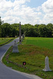 Gettysburg national military park. Road with monuments Royalty Free Stock Image