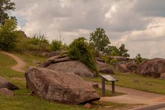 Boulders at Devils Den. Gettysburg, PA, USA - July 8, 2013: Devils Den is a boulder-strewn hill on the Gettysburg Battlefield occupied by artillery and infantry royalty free stock photography