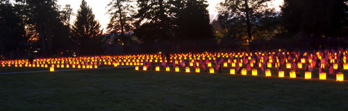 Gettysburg Rememberance. Gettysburg, PA, USA - November 15, 2014 : 12th Annual Luminary Ceremony at Soldiers Cemetery Stock Image
