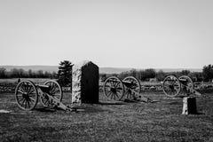 Gettysburg-Schwarzweiss-Foto von drei Kanonen Lizenzfreies Stockbild