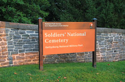 Gettysburg Soldier's National Cemetery Sign Stock Photo
