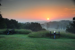 Gettysburg at sunrise. A panoramic view overlooking part of the Gettysburg National Battlefield at sunrise Stock Photography