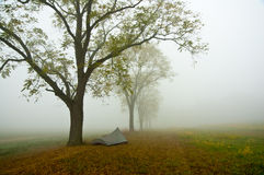 Tent in misty Gettysburg Battlefield. Stock Image