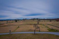 GETTYSBURG USA - APRIL, 18, 2018: Flyg- sikt av av den Gettysburg medborgareslagfältet Royaltyfri Foto