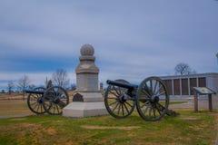 GETTYSBURG USA - APRIL, 18, 2018: Utomhus- sikt av Napoleon, 12 pund kanon som lokaliseras i en kyrkogård i den Gettysburg medbor Royaltyfri Fotografi