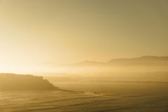 Getxo beach in misty morning Royalty Free Stock Photo