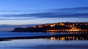 Getxo beach at night with water reflections Stock Photography