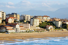 Getxo beach with residential houses Stock Photography