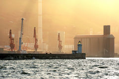 Getxo dock with lighthouse Stock Photos