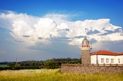 Getxo ligthouse with stormy clouds Royalty Free Stock Photos