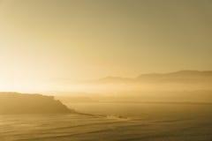 Getxo plaża w mglistym ranku Zdjęcie Royalty Free