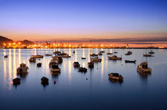 Getxo port at night with sailboats Royalty Free Stock Images