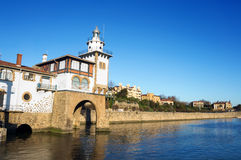 Getxo seafront and Arriluze lighthouse Royalty Free Stock Photography