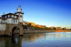 Getxo seafront and Arriluze lighthouse Royalty Free Stock Photo
