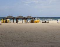 Geula海滩在10月 aviv以色列tel 免版税库存照片